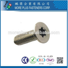 Made inTaiwan DIN965 Form personalizado Torx Drive Phillips Drive Flat Countersunk Head Machine Screws