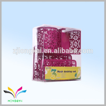 Zhejiang China metal 3 mesh desktop set colorful memo cube with pen holder