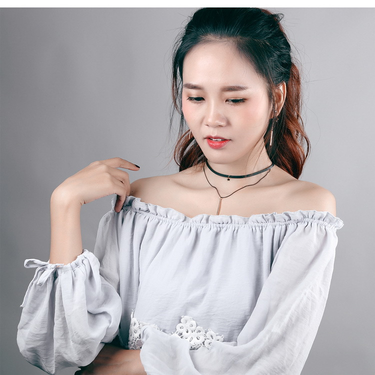 Star Double Strand Collar Choker Collarbone Necklace