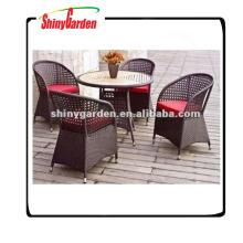 Barato 5 unids dinning set de ratán, muebles de mimbre sintéticos al aire libre, plástico tejido ratán muebles al aire libre