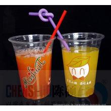 Wegwerfbare Logo-Smoothie-Plastikschalen des Haustier-12oz mit Haube-Deckel