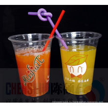 12oz любимчика Устранимые логотип смузи Пластиковые стаканчики с крышкой купола