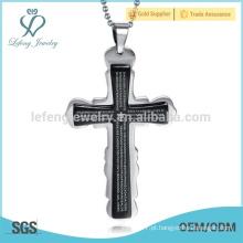 Pingente de cruz gótico moderno barato do aço inoxidável para o homem