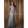 Lace Applique Long Sleeve Evening Dress