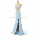 2017 neue Ankunft weg von der Schulter wulstige Großhandelsabschlußball-Kleid des sexy Abschlussballs hohes Spaltungsschwarzes, hellblaues reizvolles zweiteiliges Abschlussballkleid