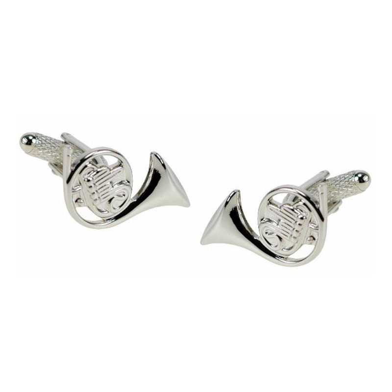 French Horn Cufflinks Silver Finish
