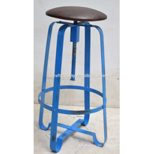 Industrial Retro Bar Hocker Ledersitz Blue Disstress Farbe