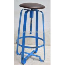 Taburete de barra retro industrial Asiento de cuero Azul Disstress Color