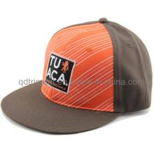 Flat Bill Print Applique à broder Sport Baseball Cap (TMFL1300-2)