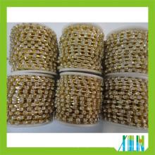 Comercio al por mayor strass rollo de diamantes de imitación cadena de la taza cadena de rollo de diamantes de imitación cadena