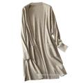 New design women coat fashion no buttons cardigan coat winter pure cashmere knitting long coat for girls