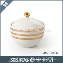 Glod line calcomanía Azucarero de porcelana, tarro de caramelo con tapa