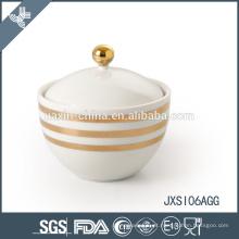 Decalque da linha Glod Pote de Açúcar de Porcelana, Frasco de Doce com tampa