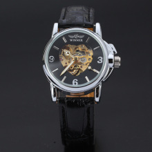 winner alloy watch with leather band personalized heart shaped dial design