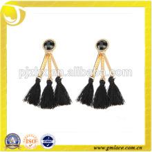 2016 Nueva borla de moda del pendiente del Rayón del negro del diseño