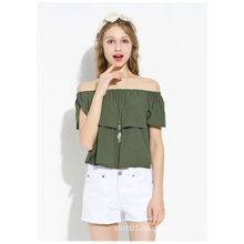 2015 New Arrvial Boat Neck Chiffon Blouse for Women