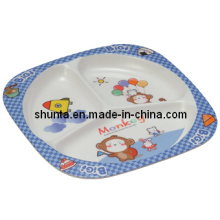 100% de louça de melamina-kid crianças utensílios de mesa 3-dividido placa (bg803)