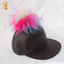 Фабричная оптовая цена Кожаная задняя бейсбольная кепка с меховым шаром