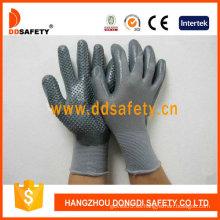 Nylon gris con gris Nitrile Glove-Dnn424