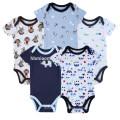 Gros Custom Pas Cher Enfants Onesie Combishort Bleu Doux Imprimé Bébé Garçon Romper Combinaisons Nouveau-Né Bébé Vêtements