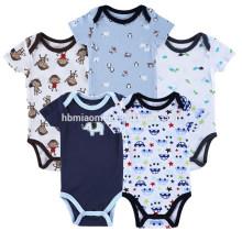 Atacado Personalizado Barato Infantil Onesie Playsuit Azul Macio Impresso Baby Boy Romper Macacões Roupas de Bebê Recém-nascido