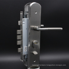 Security door Lockset with Brass Euro Profile Cylinder in Satin Nickel Surface Sliding Locks Security
