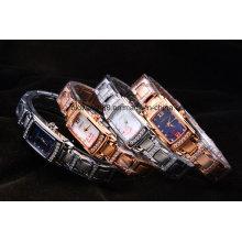 Relógio de aço inoxidável de quartzo 316L para a mulher e a senhora
