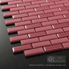 Красный душ из плитки метро Diy со стеклянной мозаикой