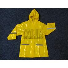 Großhandelsgelbe Farben-wasserdichte Kind-Regen-Jacke / Regen-Abnutzung