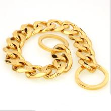 2018 starke Gold Plating Dog Schlangenkette Titan Stahl Hund Halskette