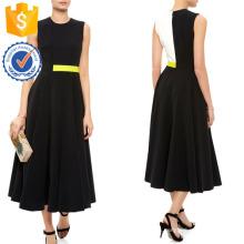 Nueva moda negro blanco y amarillo vestido sin mangas Fabricación venta al por mayor ropa de mujer (TA5304D)