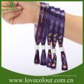Polyester benutzerdefinierte Druck-Logo Gleitschloss Armbänder für Konzert