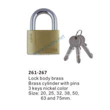 261-267 brass padlock hardend steel shackle
