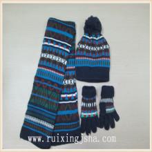 meninos inverno acrílico malha luvas scarvf e chapéu conjunto
