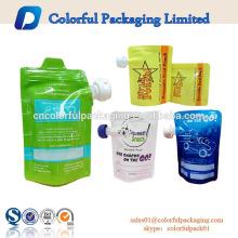 bolsa reutilizable reutilizable de la bebida del alimento para niños del bebé con el canalón