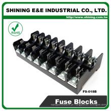 FS-018B 600V 10 Amp 8 Way Midget Type Transporte de fusíveis de vidro Rail Din