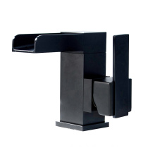 00110H black color single hole chrome polished cold hot water waterfall bathroom basin faucet