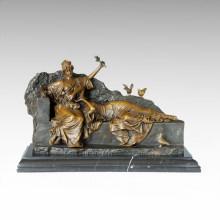 Statuette Classique Statue Fleur Sœurs Bronze Sculpture TPE-1007