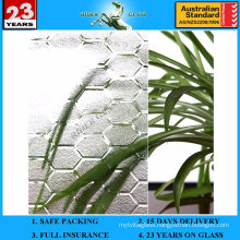 3-8mm Clear Beehive Patterned Glass with AS/NZS2208: 1996