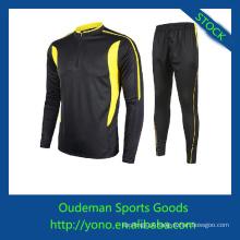 Qualidade superior spandex & poliéster materiais de manga longa camisas de futebol barato