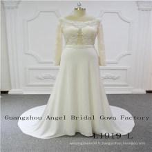Manches longues top dentelle avec jupe perlée en mousseline de soie robe de mariée