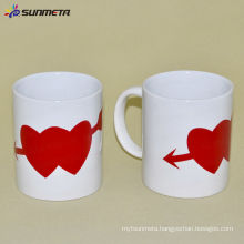 Sunmeta sublimation white mug with heart color changing magic/ceramic mug