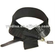 Ceintures en cuir noir et élastique noir