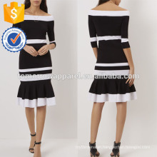 New Fashion Black And White Off The Shoulder Dress With Trumpet Hem Manufacture Wholesale Fashion Women Apparel (TA5264D)
