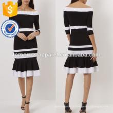 Новая мода черный и белый с плеча платье с подолом трубы Производство Оптовая продажа женской одежды (TA5264D)