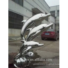 Large Modern Abstract Arts Stainless steel Animal Dophin Sculpture for Garden decoration