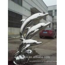 Large Modern Abstract Arts Aço inoxidável Animal Dophin Escultura para decoração de jardim