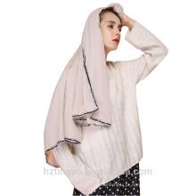 Luxo Borla Hijab islâmico algodão Estilo Europeu Xales pom pom Mulheres Cachecol Borlas Lenços