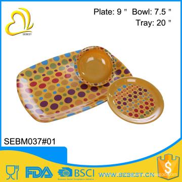 wholesale melamine bread dinnerware sets bamboo serving tray