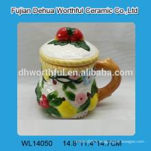 Tasse à l'eau en céramique avec peinture florale élégante pour le commerce de gros